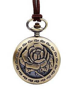 billige Blomster-ure-Herre Dame Lommeure Kinesisk Quartz Stor urskive Læder Bånd Blomst Elegant Brun