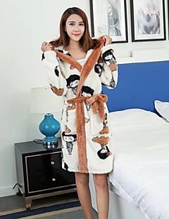 baratos Pijamas Femininos-Mulheres Com Capuz Roupão Pijamas - Estampado, Estampa Colorida