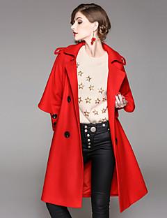 レディース お出かけ カジュアル/普段着 秋 冬 コート,ストリートファッション シャツカラー ソリッド ロング ポリエステル エラステイン 長袖