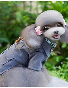 billiga Hundkläder-Katt Hund Kappor Hundkläder Enfärgad Brittisk Grå Ull Kostym För husdjur Ledigt/vardag Håller värmen