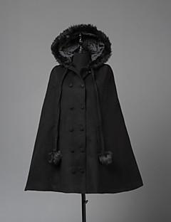 Steampunk® Haine Stil Vintage Englezesc Cosplay Rochii Lolita Negru Manșon Lung Manta Pentru Lână De Lână