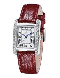 billige Modeure-Dame Armbåndsur Quartz Ægte læder Bånd Analog Afslappet Mode Elegant Hvid / Sølv Sølv / Rød Guld / Rød