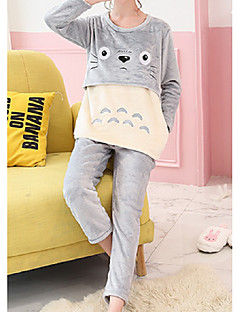 Women's Suits Pajamas,Animals Cotton Polyester Blushing Pink Gray