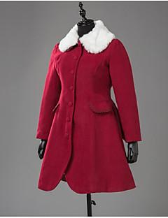 Geacă Steampunk® Cosplay Rochii Lolita Roșu Culoare solidă Manșon Lung Geacă Pentru Lână De Lână