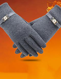 Women's Corduroy Wrist Length FingertipsWinter Gloves Windproof Keep Warm Solid Winter