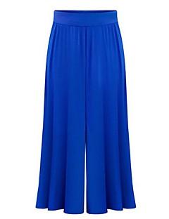 billige Nederdele og bukser til damer-Dame Plusstørrelser Bomuld Løstsiddende Bredt Bukseben Bukser Ensfarvet Højtaljede