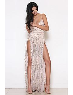 Χαμηλού Κόστους Sequin Dresses-Γυναικεία Swing Φόρεμα - Μονόχρωμο Μακρύ Λαιμόκοψη V