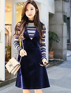 baratos Suéteres de Mulher-Mulheres Vintage Pulôver - Sólido Listrado, Metálico Brilhante Tricôt