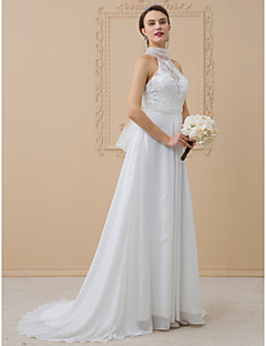 cheap Plus Size Wedding Dresses-A-Line Princess High Neck Sweep / Brush Train Chiffon Metallic Lace Custom Wedding Dresses with Appliques Bow(s) Lace Sash / Ribbon