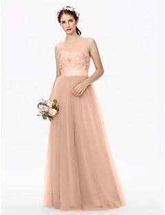 billige Romantisk rosa-A-linje Besmykket Gulvlang Tyll Blomsterblonder Brudepikekjole med Paljett Appliqué Skerfer / Bånd Plissert Blomst av LAN TING BRIDE®