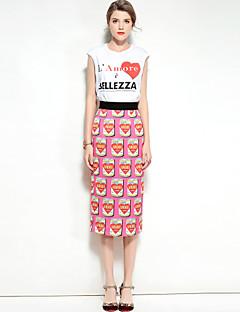 preiswerte Damen zweiteilige Anzüge-Damen Arbeit Retro T-shirt - Solide Rock