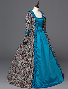 Victorian Rococo Ladies' One-Piece/Dress Blue Cosplay Satin Long Sleeves Floor Length