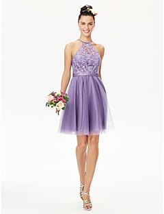 cheap Purple Passion-A-Line Princess Jewel Neck Short / Mini Lace Tulle Bridesmaid Dress with Appliques Sash / Ribbon Pleats by LAN TING BRIDE®