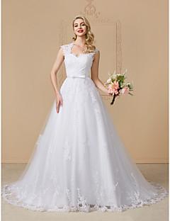 billiga A-linjeformade brudklänningar-A-linje Queen Anne Hovsläp Spets på tyll Bröllopsklänningar tillverkade med Rosett / Applikationsbroderi / Knappar av LAN TING BRIDE®