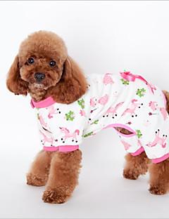 billiga Hundkläder-Katt Hund Tröja Pyjamas Hundkläder Djur Gul Blå Rosa Cotton Kostym För husdjur One Piece Ledigt/vardag Fritid
