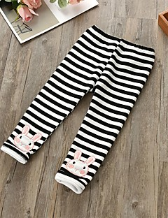 Girls' Striped Pants,Cotton Winter Spring Cute Cartoon Black Blushing Pink