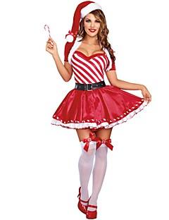 billige julen Kostymer-julenissen / Mrs.Claus Kostume Dame Jul Festival / høytid Halloween-kostymer Rød Ferie