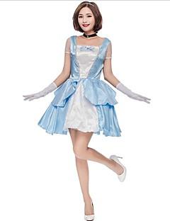 billige Halloweenkostymer-Prinsesse Cinderella Eventyr Kjoler Cosplay Kostumer Dame Halloween Karneval Nytt År Festival / høytid Halloween-kostymer Blå Fargeblokk