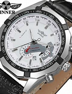 WINNER Pánské Módní hodinky Hodinky k šatům Náramkové hodinky Automatické natahování Kalendář Kůže Kapela Na běžné nošení Cool Černá
