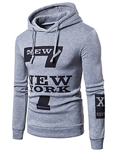 Men's Daily Hoodie Print Hooded Micro-elastic Cotton Long Sleeves Fall Winter