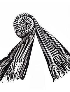お買い得  ファッションスカーフ-男性用 冬 コットン ストライプ 長方形 ブラック