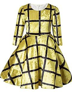 Χαμηλού Κόστους Girls' Party Wear-Κορίτσια Φόρεμα Βαμβάκι Πολυεστέρας Μονόχρωμο Πλέγμα / Plaid Καθημερινά Εξόδου Άνοιξη Φθινόπωρο Μισό μανίκι Χαριτωμένο Καθημερινό