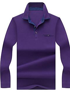 お買い得  メンズポロシャツ-男性用 ベーシック Polo 活発的 シャツカラー スリム ソリッド コットン / 長袖