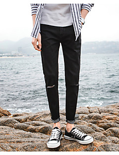 Herre Enkel Mikroelastisk Løstsittende Jeans Bukser,Løstsittende Jeans Mellomhøyt liv Ensfarget