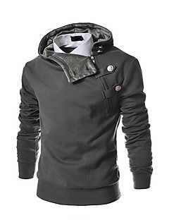 Men's Plus Size Daily Sports Casual Hoodie Solid Stand Cotton Polyester Long Sleeve Winter Spring Fall