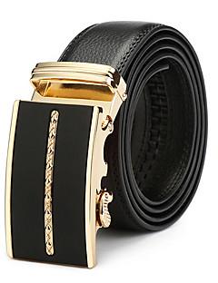 billige -Herrer Vintage Afslappet Spænde,Læder Sort Vintage Stil Helfarve