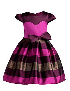 Χαμηλού Κόστους Girls' Party Wear-Κορίτσια Φόρεμα Πολυεστέρας Ριγέ Εξόδου Αργίες Καλοκαίρι Φθινόπωρο Κοντομάνικο Χαριτωμένο Πριγκίπισσα Ανθισμένο Ροζ Φούξια