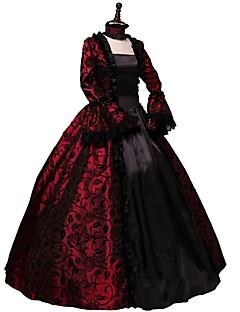 Vintage Rococo Gotik Wiktoriańskie Kostüm Kadın's Yetişkin Parti Kostümleri Maskeli Balo Kırmızı Eski Tip Cosplay Uzun Kollu