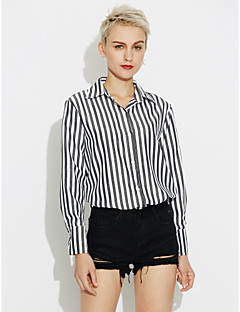 Women's Casual/Daily Simple Shirt,Striped Square Neck Long Sleeves Cotton Medium