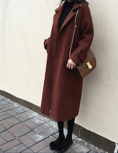 レディース 綿 冬 コート,セクシー シャツカラー ソリッド ロング ウール 長袖 フォーマル