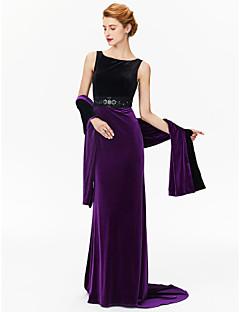 זול שמלות לאם הכלה-מעטפת \ עמוד עם תכשיטים שובל סוויפ \ בראש שרמוז ג'רסי שמלה לאם הכלה  עם חרוזים על ידי LAN TING BRIDE®