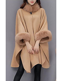 Women's Daily Going out Street chic Winter Fall Cloak/Capes,Solid Crew Neck Long Sleeves Regular Wool Fox Fur