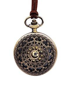 billige Blomster-ure-Dame Lommeure Kinesisk Quartz Stor urskive Afslappet Ur Læder Bånd Blomst Vintage Brun