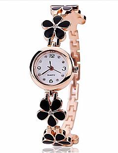 Kadın's Bilezik Saat Quartz Alaşım Bant Çiçek Siyah Beyaz
