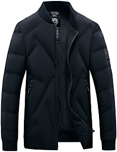 Men's Padded Coat,Simple Cotton Solid-Cotton Long Sleeves
