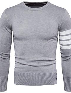 tanie Męskie swetry i swetry rozpinane-Męskie Praca Okrągły dekolt Pulower Jendolity kolor Długi rękaw