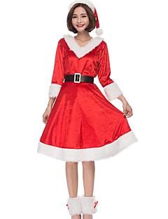 billige julen Kostymer-Nisse drakter julenissen Cosplay Kostumer Julkjole Kvinnelig Jul Halloween Karneval Nytt År Oktoberfest Festival / høytid