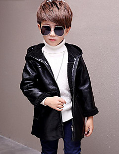 Boys' Solid Jacket & Coat,PU Long Sleeves Casual Black