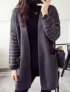 Χαμηλού Κόστους Chic Sweaters Sale-Γυναικεία Μακρυμάνικο Λαιμόκοψη V Ζακέτα - Μονόχρωμο