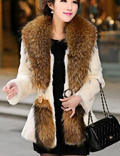 billiga Dampälsar och läder-Höst Vinter Enfärgad Långärmad Utekväll Ledigt/vardag Fur Coat,Streetchic Dam Rund hals Polyester Normal
