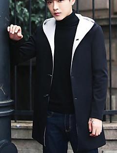 お買い得  メンズジャケット&コート-男性用 日常 お出かけ 冬 秋 ロング コート, ストリートファッション フード付き ソリッド ポリエステル