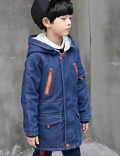 billige Jakker og frakker til drenge-Drenge dun- og bomuldsforet Ensfarvet Langærmet Blå