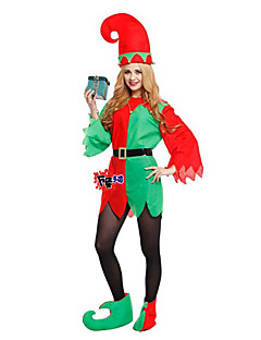 Holiday Burlesque/Clown Santa Claus Elf Outfits Male Halloween Christmas Festival / Holiday Halloween Costumes Red Patchwork Christmas