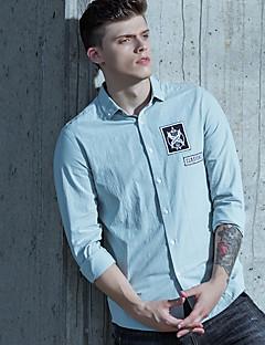 Bomull Medium Langermet,Skjortekrage Skjorte Ensfarget Trykt mønster Bokstaver Vår/Vinter Sommer Gatemote Sofistikert Ut på byen