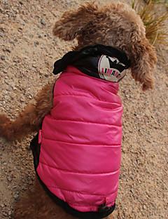 billiga Hundkläder-Katt Hund Kappor Huvtröjor Jumpsuits Hundkläder Tryck Tiaror och kronor Fuchsia Polyster Vattentätt Material Kostym För husdjur