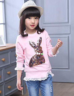 Girls' Solid Cartoon Blouse,Cotton Rayon Spring Fall Simple Cute Blushing Pink Gray